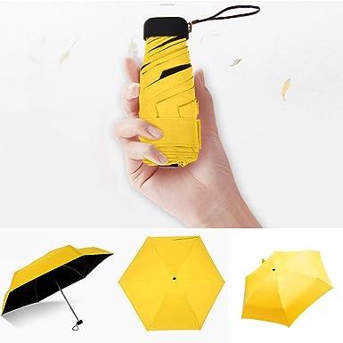 Cliramer Mini Travel Umbrella Light Compact Sun&Rain Outdoor Comfortable Square Handle Pocket Umbrella (Yellow)