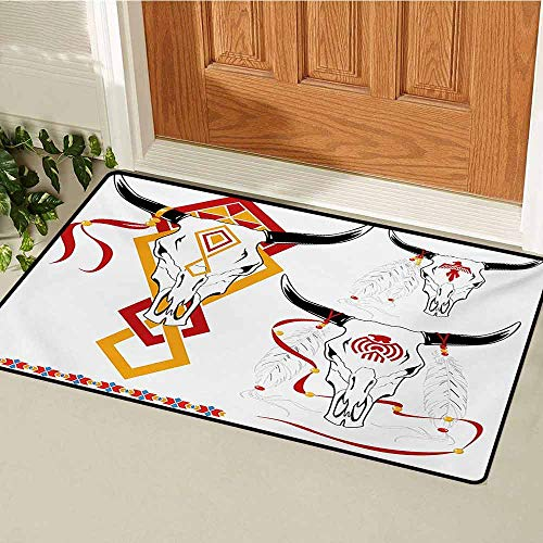 GUUVOR Tattoo Commercial Grade Entrance mat Bulls Head with Feather of Bird as Accessory with Tribal Designers Print for entrances garages patios W47.2 x L60 Inch Red Yellow and White