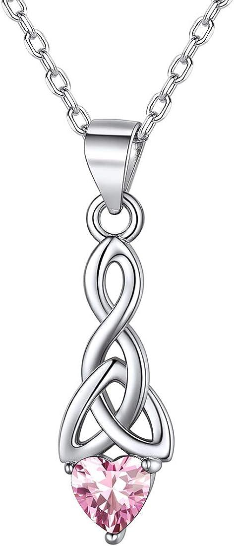 ChicSilver Nudo Celta Plata de Ley 925 Collar para Mujeres con Piedras Corazón Joyería Irlandesa de Buena Suerte para Madres Parejas 12 Meses Piedras de Nacimiento de Cumpleaños