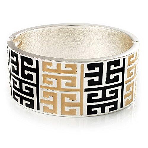 Wide Black & Light Cream Maze Enamel Hinged Bangle Bracelet (Silver Tone)