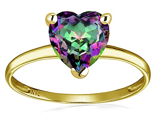(Star K Mystic Rainbow Topaz Heart Shape 8mm Solitaire Engagement Ring 14 kt Yellow Gold Size 5)