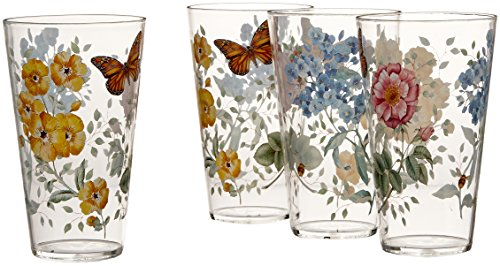 Butterfly Dinnerware - Lenox 866239 Butterfly Meadow Acrylic Highball Glass (Set of 4), Multicolor