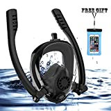 Full Face Snorkel Mask, HJKB K2 Free Breathing Snorkeling Mask with Double Tubes and 180° Panoramic Viewing, Zero Fog and Anti Leak Guarantee with Camera Mount for Adult (Black + Black, Medium Adult)