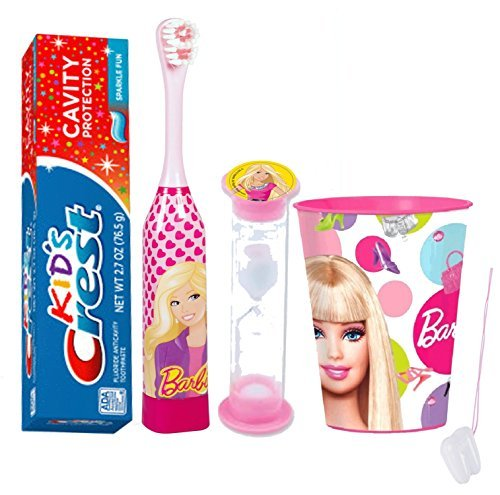 "Barbie Girl 4pc Bright Smile Oral Hygiene Set! Turbo Powered Toothbrush, Toothpaste, Brushing Timer & Mouthwash Rinse Cup! Plus Bonus ""Remember To Brush"" Visual Aid!"