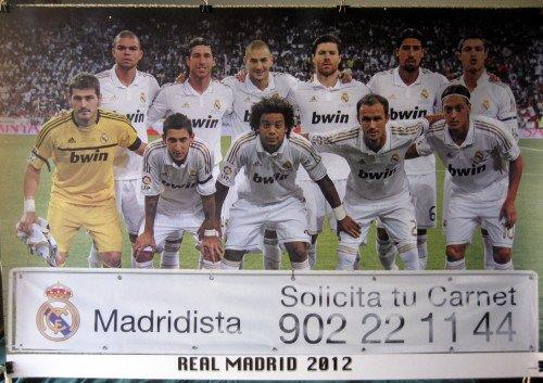 Real Madrid 2012 team photo POSTER 34 x 23.5 soccer football Kaka Cristiano Ronaldo (sent FROM USA in PVC - Madrid Real Kaka