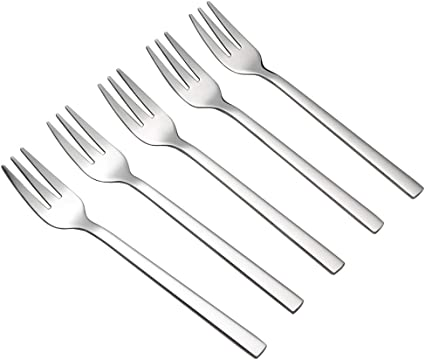 Callyne Juego de 12 tenedores de postre de acero inoxidable acabado espejo