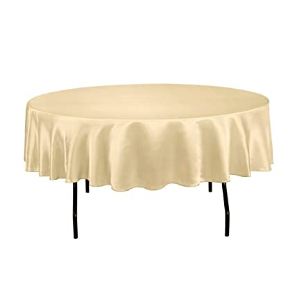 LinenTablecloth 90 Inch Satin Tablecloth, Round, Gold