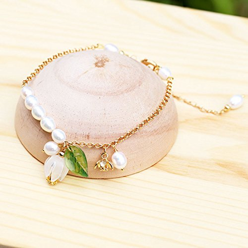 TKHNE Qin Hua Ling cool gilded lily valley lily valley freshwater pearl Foot Chain anklet women girls minimalist Exquisite Sen Department