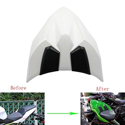 (Alpha Rider Motorcycle White Seat Cowl Rear Tail Cover Passenger Rubber Pad for Kawasaki Ninja650 2017 Ninja 650 Z 650 Z650 2017)