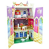 Teamson Kids - Fancy Castle Wooden Doll House with 5 pcs Furniture for 12 inch Dolls