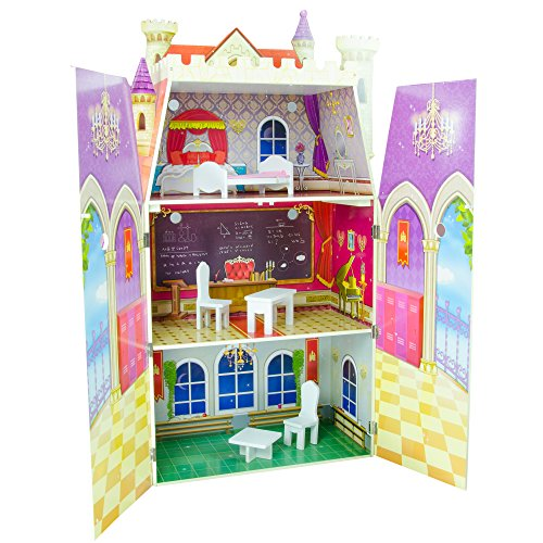 Teamson Kids - Fancy Castle Wooden Doll House with 5 pcs Furniture for 12 inch Dolls by Teamson Design Corp