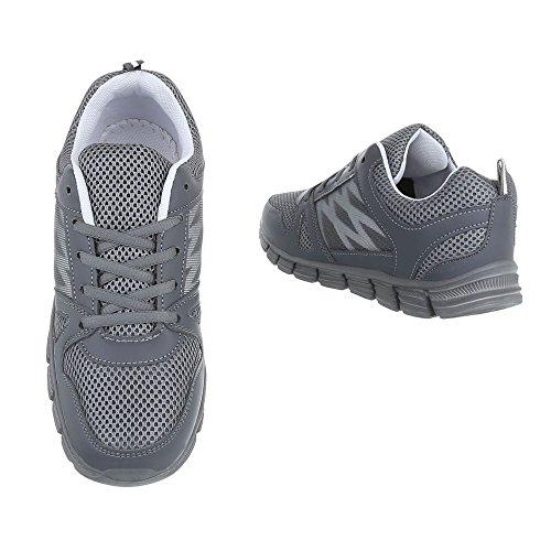 1 El20025 mujer Plano Design Zapatillas Zapatos Zapatillas Ital para Gris altas qCz5xvwZ5
