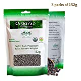 Certified Organic 454g/1LB Gourmet Ceylon Black Peppercorns (3 Packs of 152g)