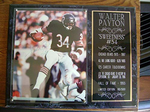 Chicago Bears Walter Payton Autographed Signed Photo & Plaque NFL HOF Free Shipping - Certified Signature