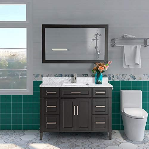 Vanity Art 48 Inch Single Sink Bathroom Vanity Set Carrara Marble Stone Soft Closing Doors Undermount Rectangle Sink with Free Mirror – VA2048-E