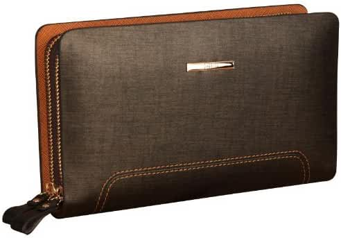 Pabojoe Men's Real Leather Business Casual Clutch Wallet Double Zipper