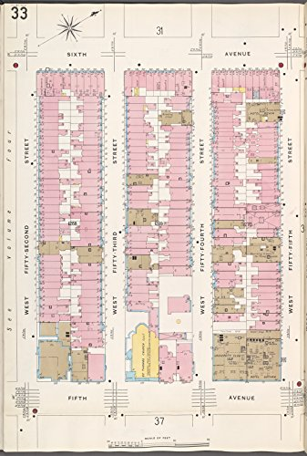 Map Poster - Manhattan, V. 6, Plate No. 33 [Map bounded by 6th Ave., W. 55th St., 5th Ave., W. 52nd St.] 11