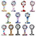 Lancardo Silicon Nurses Lapel Pin-on Brooch Fob Watch (12 Designs Pattern Print)