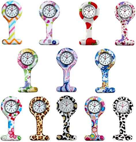 Hygienic Unisex Nurses Lapel Printed Pattern Silicone Cover Brooch Designs(12Pcs)