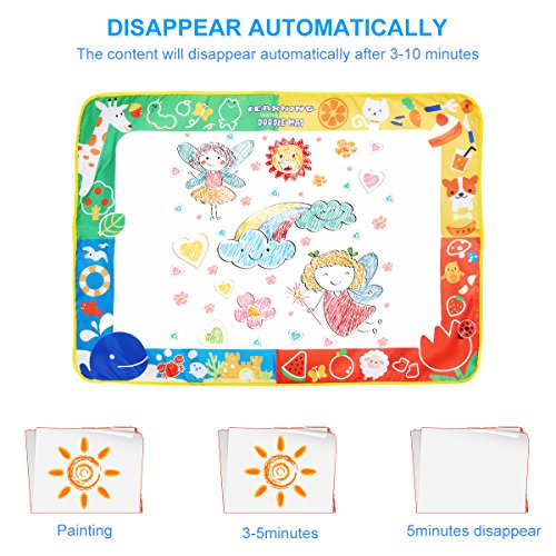 Aquadoodle Mat, Kids Toy Large Water Doodle Mat 39.5'' X 28'' with 3 Magic Pens 2 Drawing Molds, Kids Educational Learning Toy Gift for Boys Girls Toddlers Age 2 3 4 5 Years Old Toddler Toys by Niolio (Image #2)