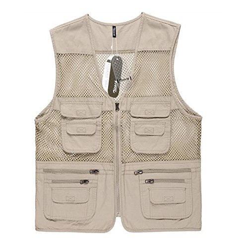 Zicac Mens Casual Mesh Fishing Vest Jacket for Camping Hunting Fishing Photography (Beige, US M(Asia XL)) For Sale