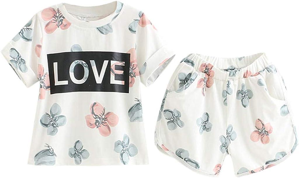 Julhold Baby Girl Wear - Camiseta de Manga Corta para bebé, diseño de Flores, Color Rosa y Blanco
