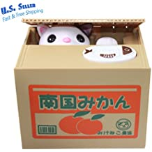 Funny Cat Stealing Coin in orange Box Kitty PiggyBank Home Decor Gift US Seller