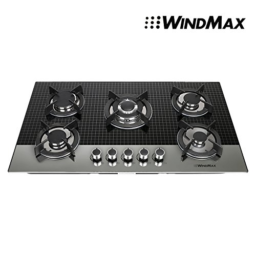 Gas White Cooker (Windmax EuroStyle 35.5 in. Coated Glass 5 Burners Built-In Stove NG Gas Cooktop Cooker)