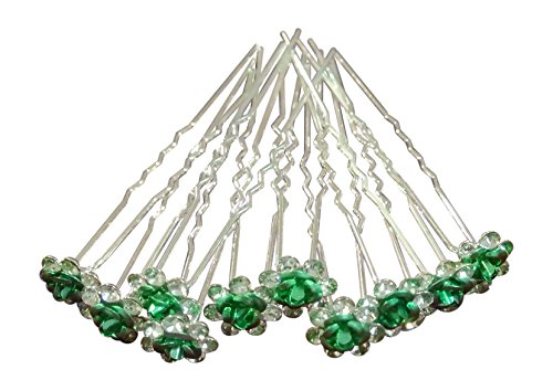 Shop Ginger Wedding Pack of 10 Rose Crystal Rhinestones Flower Hair Pins Bridal Veil (Green)