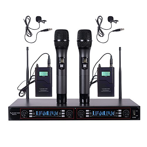 Sound Town Professional UHF Handheld Wireless Microphone System with LED Display, 2 Handheld Mics, 2 Lavalier Mics, 2 Bodypack Transmitters (NESO-U4HL) by Sound Town