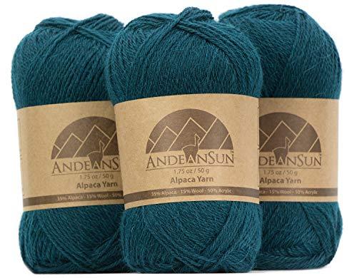 Fingering Alpaca Yarn Blend (Weight #2) FINE, Sport, Baby Skeins - Set of 3 SKEINS - 654 Yards Total - 150 Grams - 5.28 Ounces - Teal Wool Yarn