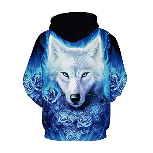 Wolf shirt Capuche Rose À Sweat Homme Blue Amoma wOxXR7q