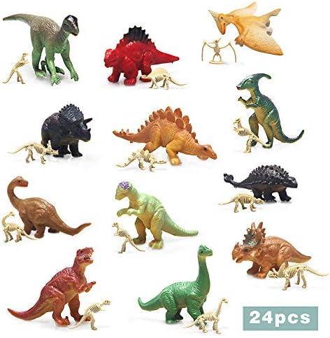 ミニ恐竜と恐竜のスケルトン24個。恐竜パーティー用品。男の子の女の子向け。対象年齢3歳以上。