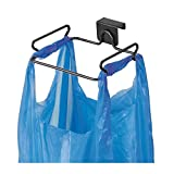 mDesign Kitchen Waste Bin - Built in Kitchen Bin with Prongs for Holding Bag - Plastic Bag Holder Made from Steel - Matte Black