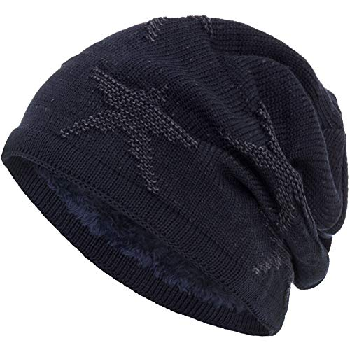 de suave invierno Gorro interior Azul cesta modelo Marino de de estrella Gris Compagno Beanie punto con qgw1AA