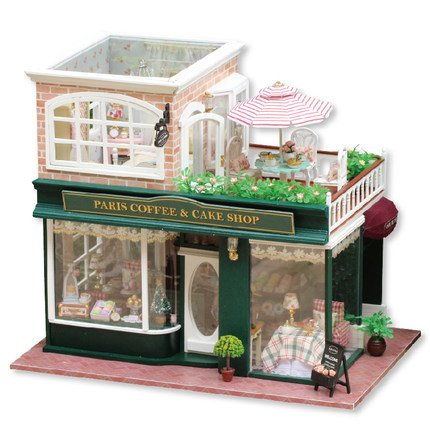 Dreams Assembling DIY Miniature Dollhouse Kit Perfect Gift for Valentine's Day-Coffee Shop in Pairs