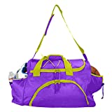 DALIX 24' The Dagger Basketball Duffle Bag Sports Shoe Ball Holder Duffel w Shoulder Strap and Water Bottle Holder (Purple-Gold)