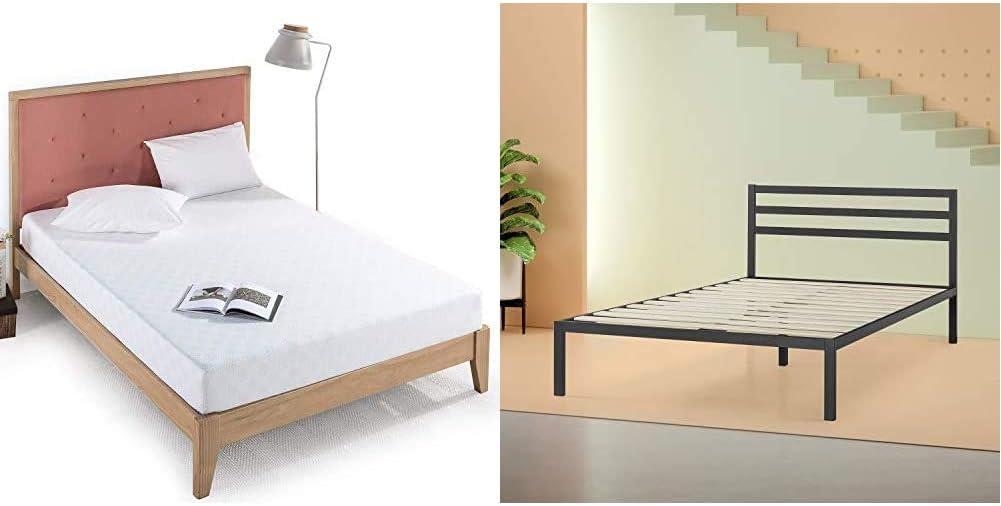 Zinus 8 Inch Gel-Infused Green Tea Memory Foam Mattress, King & Mia Modern Studio 14 Inch Platform 1500H Metal Bed Frame with Headboard, King