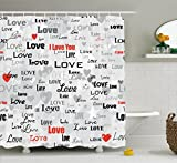 Ambesonne Love Decor Collection, Celebrating Happy Times Anniversary Birthday Greeting Love Themed Artwork Image, Polyester Fabric Bathroom Shower Curtain Set with Hooks, Red Black Gray