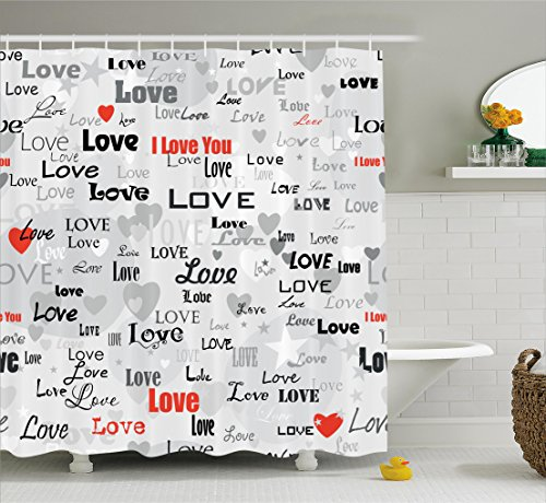Ambesonne Love Decor Collection, Celebrating Happy Times Anniversary Birthday Greeting Love Themed Artwork Image, Polyester Fabric Bathroom Shower Curtain Set with Hooks, Red Black Gray by Ambesonne (Image #1)