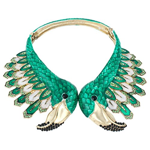 EVER FAITH Gold-Tone Austrian Crystal Vintage Style 2 Flamingo Statement Choker Necklace Green