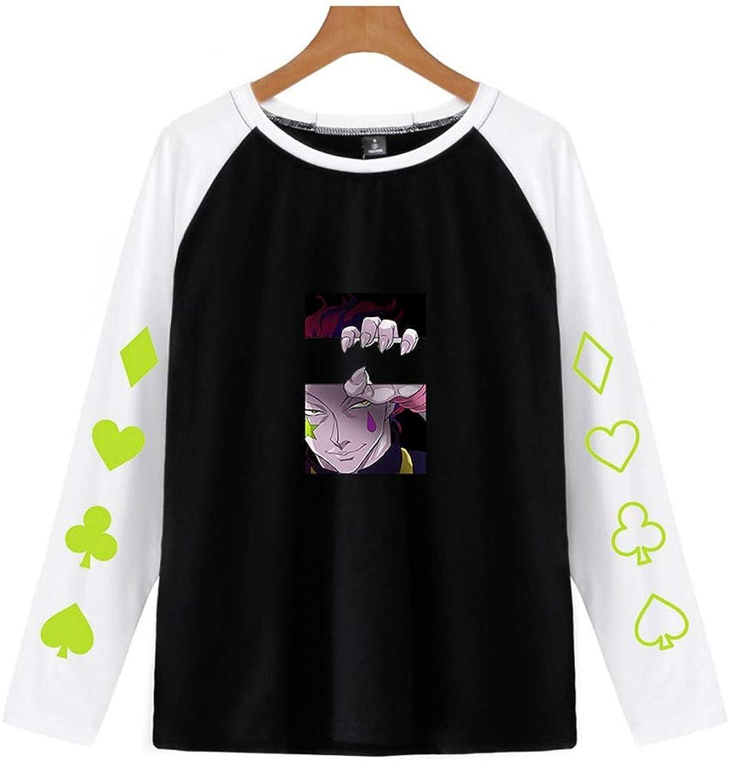 Hunter x Hunter Hisoka Unisex Estate a Maniche Lunghe di Colore della Rappezzatura Casual T-Shirt