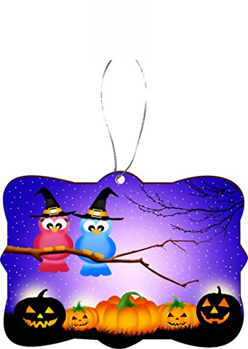 Rikki Knight RKWS-SQORN-44332 Christmas Tree Ornament / Car Rear View Mirror Hanger Halloween Owls in Tree at Night with Pumpkins (Owl In A Tree Halloween)