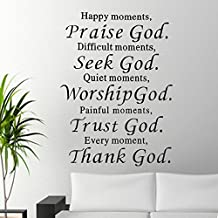 Soledi High Quality Happy Moments Praise God Worship God Quote DIY Art Wall Decor Vinyl Wall Sticker Mural Decals Room Home Decor Removable