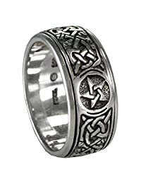 Silver Celtic Knot Pentacle Spinner Worry Ring for men or women (sz 4-15)