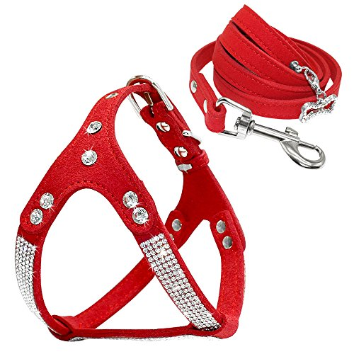 Beirui Soft Suede Rhinestone Leather Dog Harness Leash Set Cat Puppy Sparkly Crystal Vest & 4 ft lead for Small Medium Cats Pets Chihuahua Poodle Shih Tzu,Red,Large chest for (Pink Rhinestone Poodle)