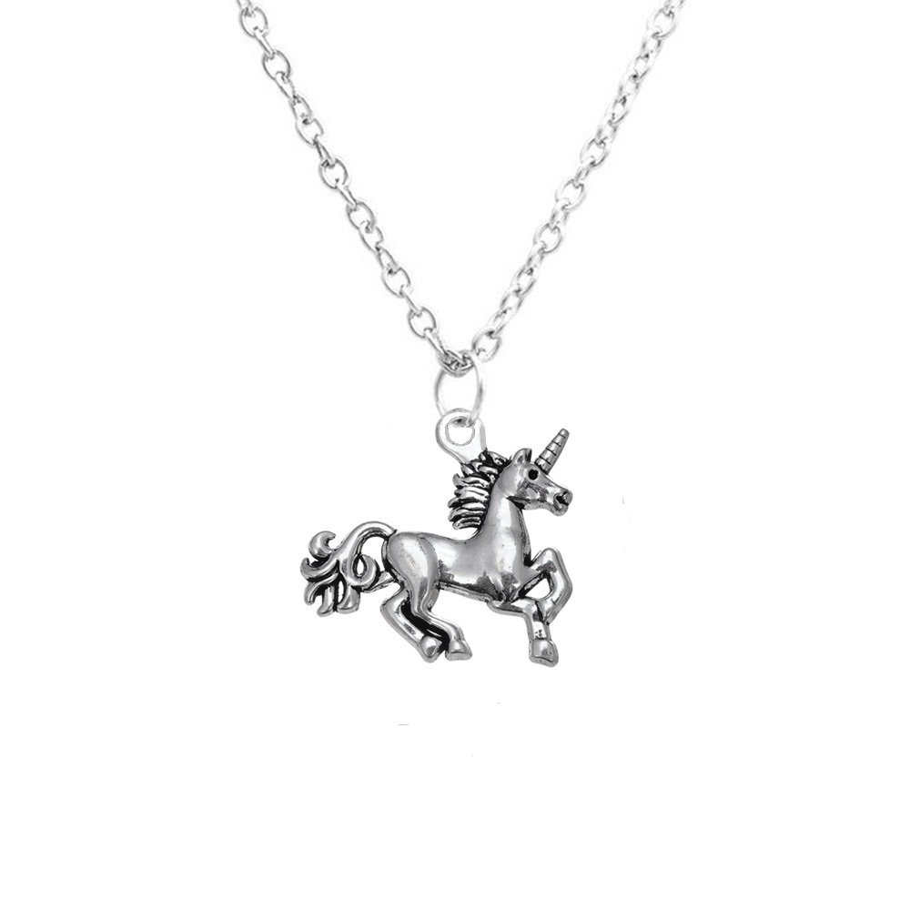 Antique Silver Plated Unicorn Pendant Necklace Little Girls Gift Jewlery Qiju B01LKN9EQ6_US