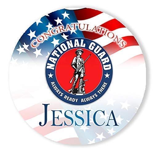 National Guard Personalized Round Stickers 24 Stickers Total