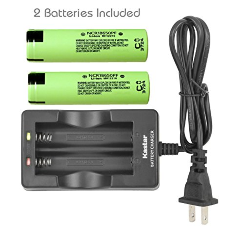 Kastar Dual Smart Intelligent Charger & NCR18650PF Battery (2 Pack), Panasonic Quality Rechargeable 2900mAh (High Drain 10A) Flat Top for Electric Tools, Toys, LED Flashlights and Torch ect.