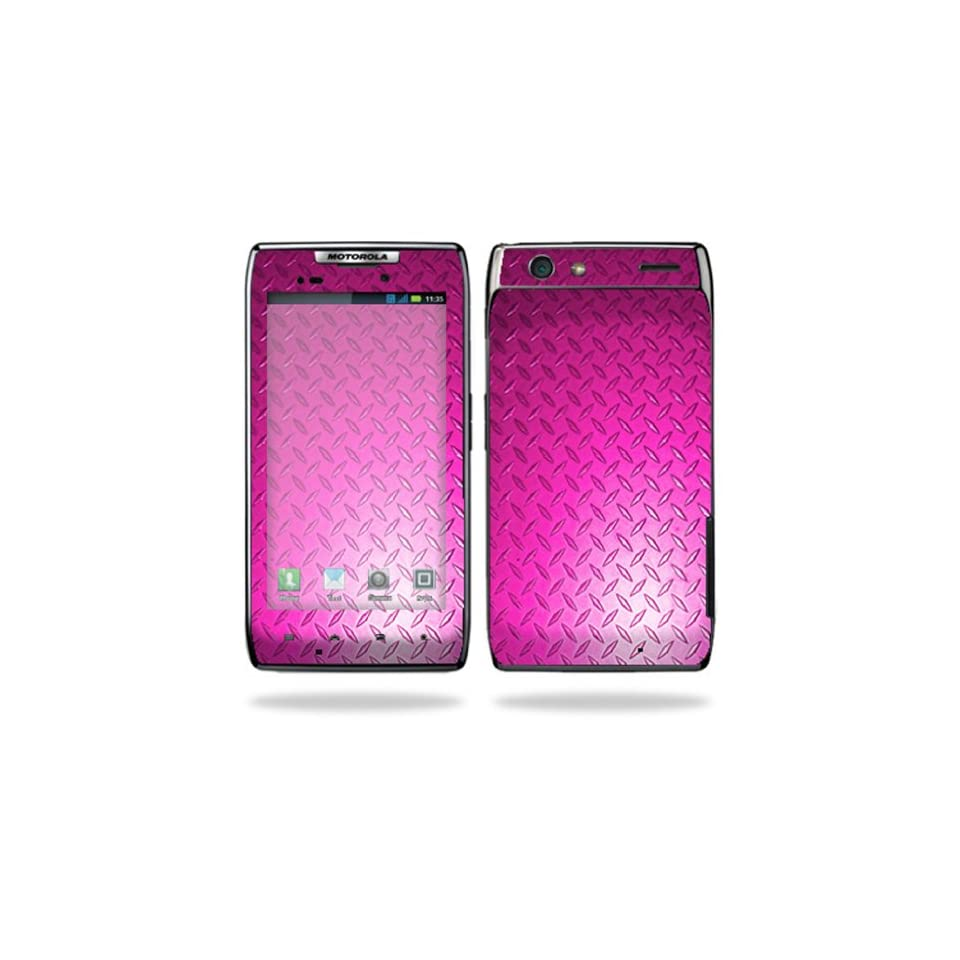 Mightyskins Protective Vinyl Skin Decal Cover for Motorola Droid Razr Android Smart Cell Phone wrap sticker skins   Pink Dia Plate
